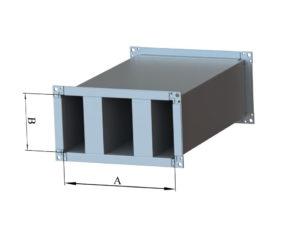 Шумогулшитель прямоугольный из оцинкованной стали