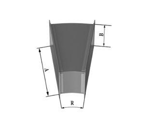 Отвод прямоугольного сечения 15 из нержавеющей стали