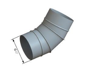 Отвод круглого сечения 45 из оцинкованной стали