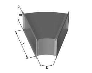 Отвод прямоугольного сечения 30 из нержавеющей стали