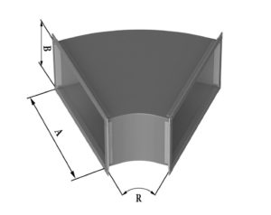 Отвод прямоугольного сечения 45 из нержавеющей стали