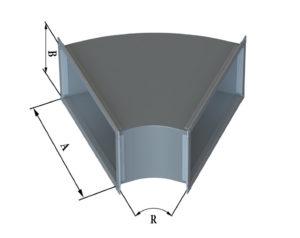 Отвод прямоугольного сечения 45 из оцинкованной стали