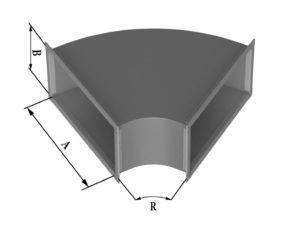 Отвод прямоугольного сечения 60 из нержавеющей стали