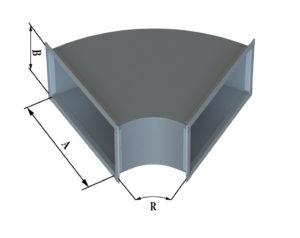 Отвод прямоугольного сечения 60 из оцинкованной стали