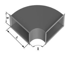 Отвод прямоугольного сечения 90 из нержавеющей стали
