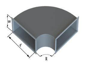 Отвод прямоугольного сечения 90 из оцинкованной стали