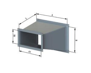 Переход с прямоугольного на прямоугольное из оцинкованной стали
