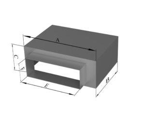 Пленум под решетку с боковой прямоугольной врезкой из нержавеющей стали