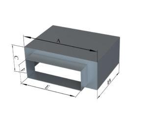 Пленум под решетку с боковой прямоугольной врезкой из оцинкованной стали