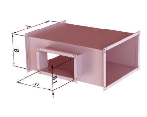 Тройник прямоугольного сечения из черной стали