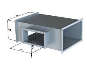Тройник прямоугольного сечения из оцинкованной стали