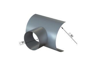 Врезка круглого сечения в круглый воздуховод из оцинкованной стали
