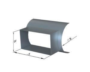 Врезка прямоуголного сечения в круглую из оцинкованной стали