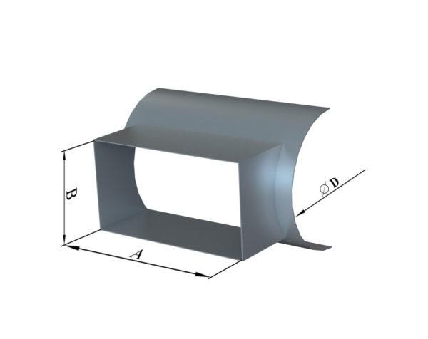 Врезка прямоуголного сечения в круглую