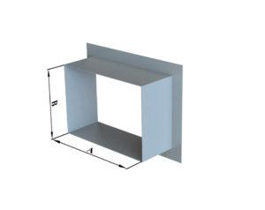 Врезка прямоугольного сечения в плоскость из оцинкованной стали